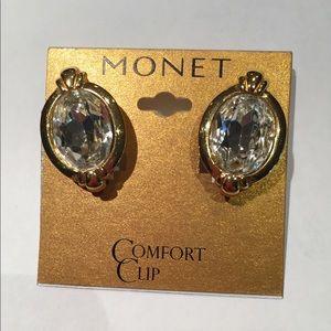 Monet Vintage Signed Crystal Clip Earrings